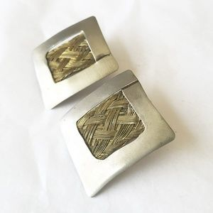 Jewelry - Artisan handmade silver and woven brass earrings